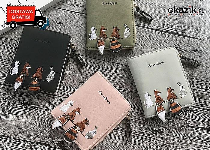 Uroczy portfel! Dla każdej miłośniczki zwierząt! 4 kolory do wyboru! Doskonała jakość!