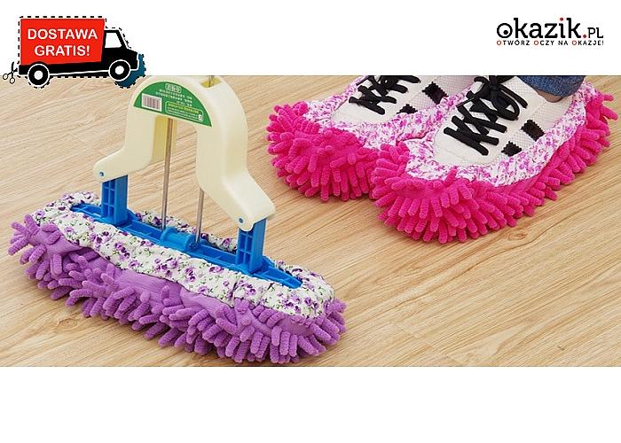 NAKŁADKA Z MIKROFIBRY do czyszczenia, którą możesz założyć na mopa jak i na obuwie! Przesyłka GRATIS.
