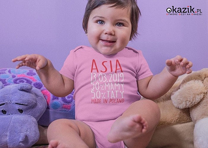 Każde dziecko jest wyjątkowe i zasługuje na wyjątkowe  spersonalizowane body, z własnym imieniem oraz datą urodzenia