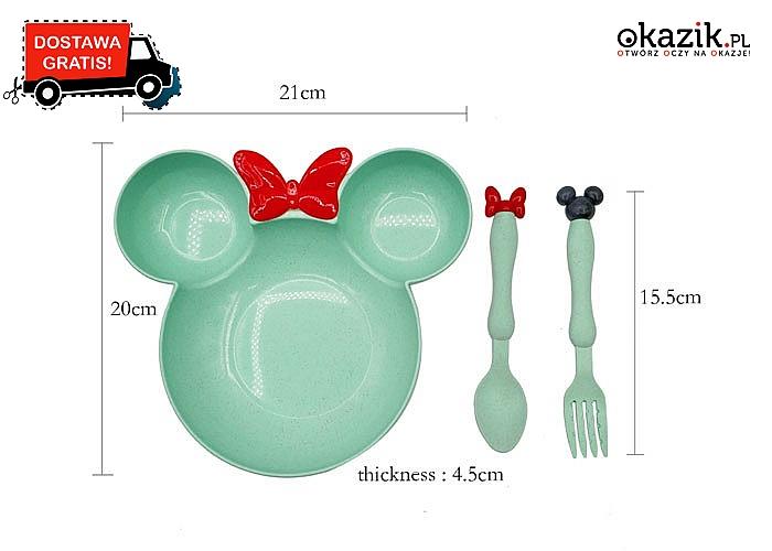 Uroczy zestaw obiadowy w stylu myszki Miki! Miseczka i sztućce! Doskonały pomysł na prezent!