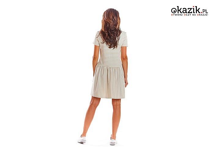 Mini sukienka w czarne lub beżowe paski z krótkim rękawem! Najwyższa jakość wykonania! Modny fason!