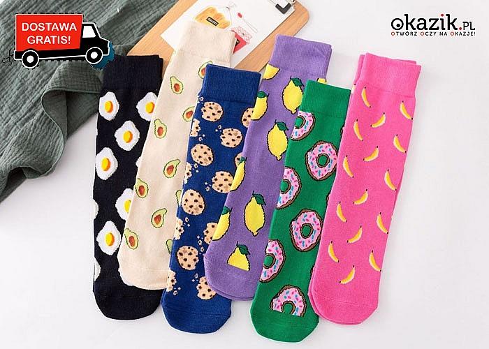 Kolorowe skarpetki damskie z bawełny! W stylu jedzenia! Mnóstwo wzorów do wyboru! Idealne na prezent!