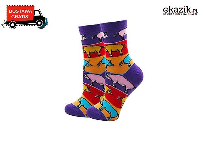 Kolorowe skarpetki damskie z bawełny! Idealne na prezent! Mnóstwo wzorów do wyboru!
