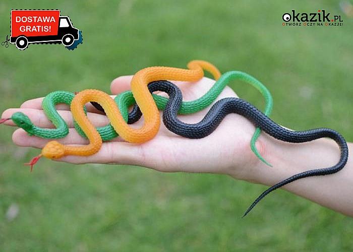 Przestrasz znajomych! Doskonale odwzorowany sztuczny wąż! Jak żywy! Mnóstwo kolorów!