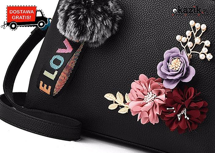 Piękna, elegancka torebka dla każdej wyjątkowej kobiety! Bogate zdobienia i dodatki!
