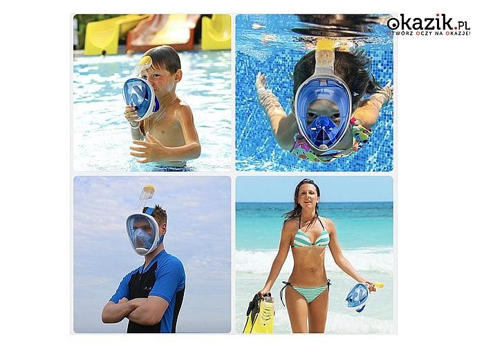 Pełnotwarzowa maska do nurkowania z uchwytem na GOPRO! Solidna konstrukcja! Łatwa regulacja!