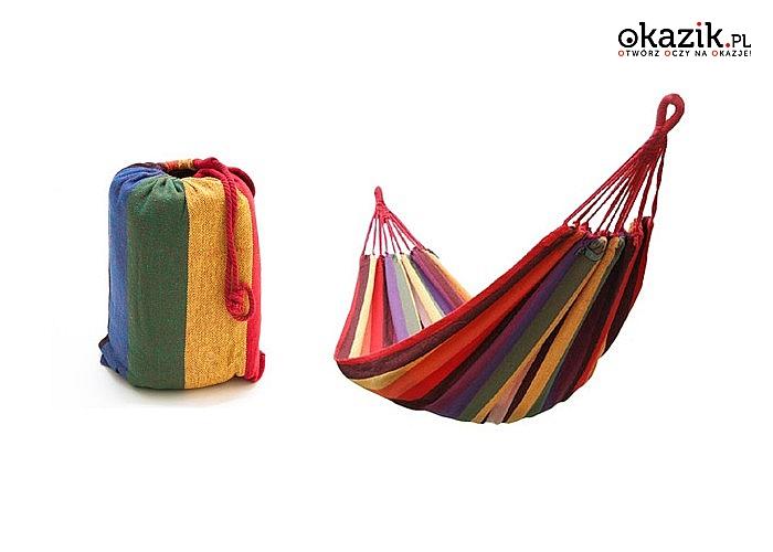 Fantastyczny wytrzymały hamak kolorowy zapewni komfortowy wypoczynek na świeżym powietrzu