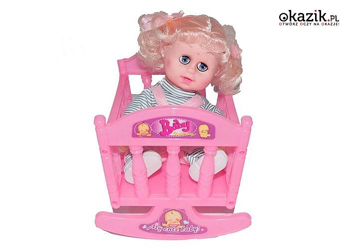 Kołyska dla lalki, z lalką w zestawie, Zabawka która zachwyci każdą dziewczynka. Doskonale sprawdzi się jako prezent
