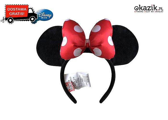 Oryginalna,pluszowa przepaska Disney – uszy Minnie z kokardą!