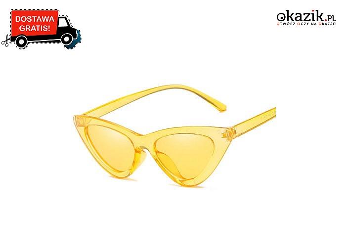 HIT LATA! Przeciwsłoneczne okulary damskie typu CAT EYE! Styl i szyk!