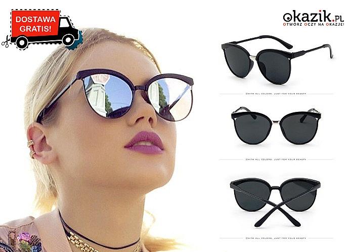 MODOWY HIT! Śliczne okulary Cat Eye z kolorowymi soczewkami!