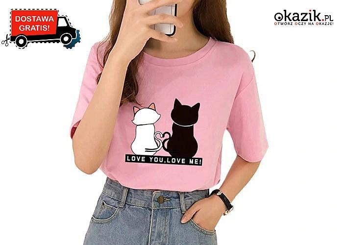 Bluzka damska dla każdej kociary! Doskonała jakość! Mnóstwo kolorów!