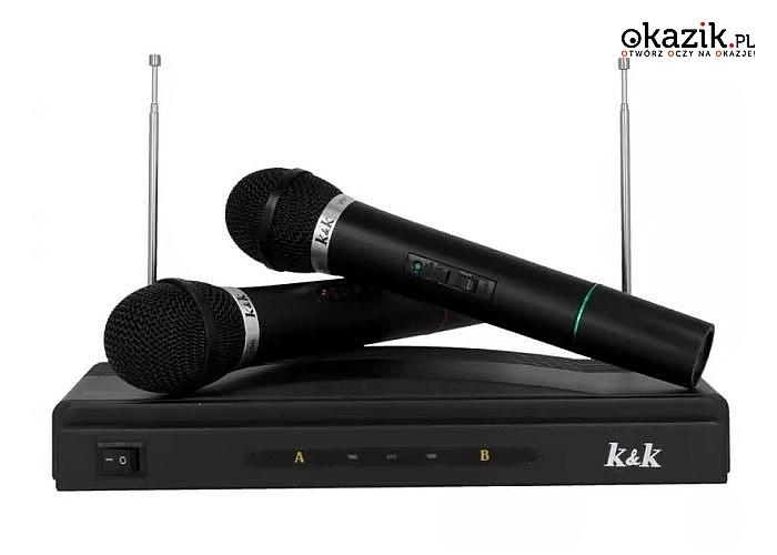 Bezprzewodowy Zestaw Karaoke 2 Mikrofony . Rewelacyjna rozrywka dla małych i dużych
