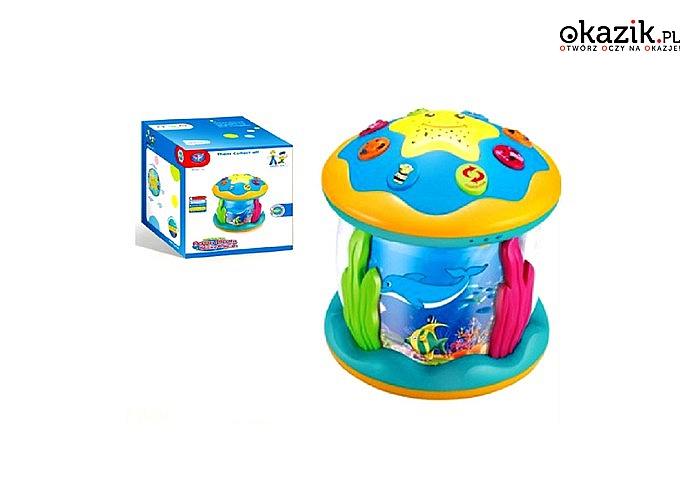 Projektor, lampka, zabawka interaktywna! Bębenek 3 w 1