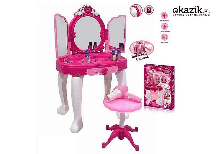 Toaletka dla dziewczynki wraz z pilotem, różdżką oraz lustrem