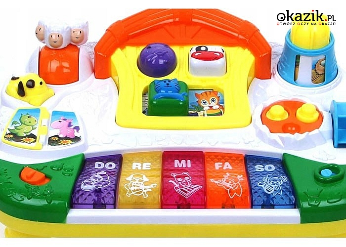 Interaktywne pianinko doskonałe dla niemowląt od 6 miesiąca życia wraz z książeczką