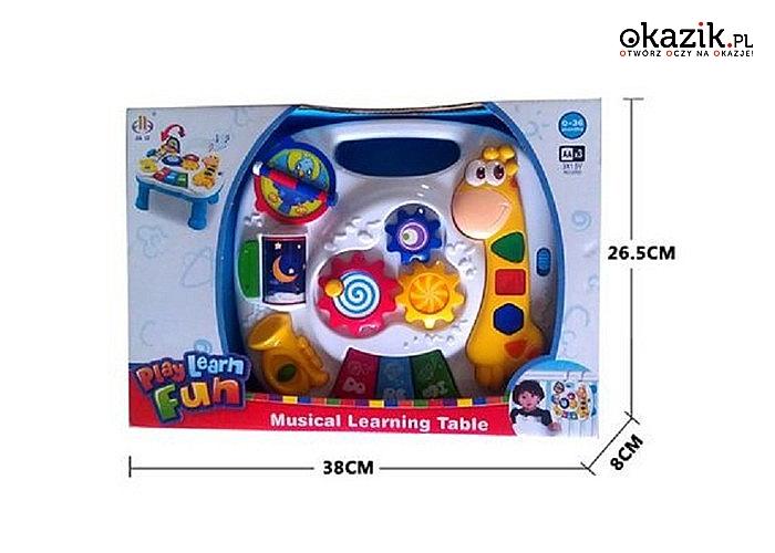 Stolik edukacyjny i panel na łóżeczko 2w1