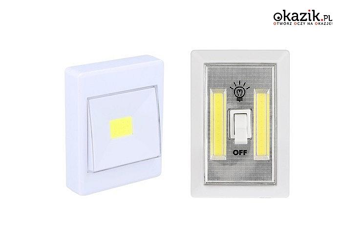 Lampka LED imitująca włącznik światła na baterie. Dwa rodzaje do wyboru.