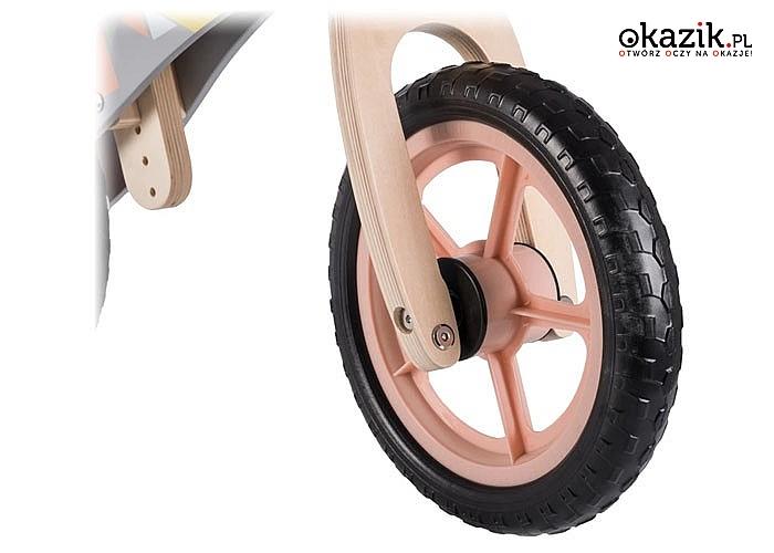 Lekki, drewniany rowerek biegowy Lionelo Casper! Kolor różowy-łososiowy!