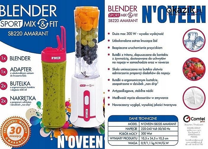Blender osobisty MIX&FIT Smoothie N'OVEEN! Niewielki i bardzo praktyczny! 2 kubki 600ml w zestawie!