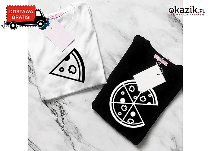 Skompletuj ze swoim partnerem całą pizzę! Świetne koszulki dla par!