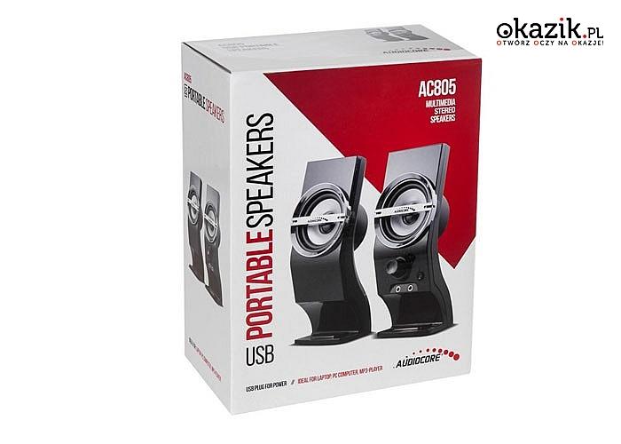 Wysokiej jakości głośniki komputerowe 6W Audiocore AC805 USB! Czyste i naturalne brzmienie dźwięku!