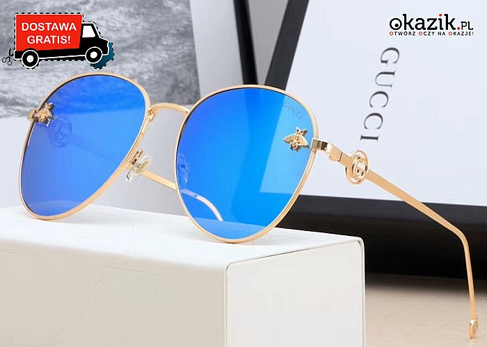 Absolutny HIT! Damskie okulary przeciwsłoneczne Gucci! Podkręć letnią, plażową stylizację!
