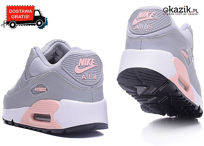 SUPER OKAZJA! Damskie buty NIKE AIR MAX 90 w szarym kolorze.