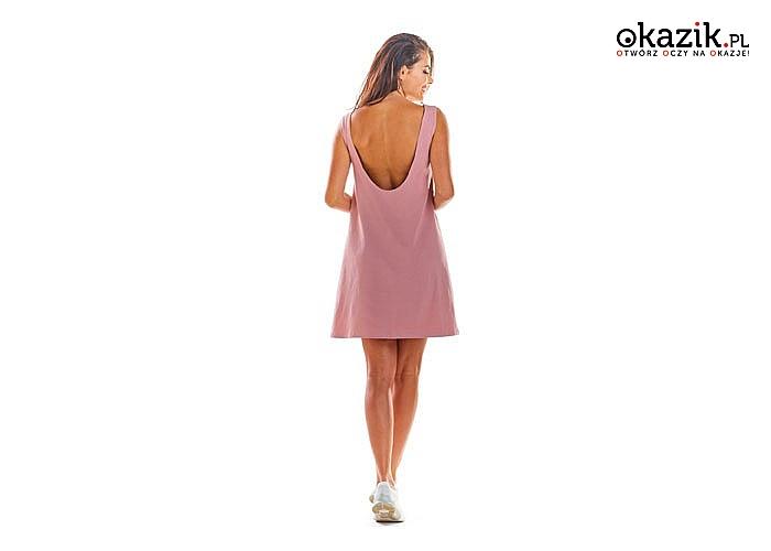 Sukienka w paski wykonana z bawełny! Głęboki dekolt z tyłu odsłaniający plecy.!  idealna na sezon wiosna-lato!
