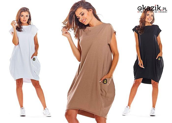 Luźna sukienka z krótkimi rękawami i dużymi kieszeniami! Najwyższej jakości bawełna! Piękne zdobienia!