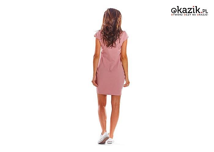 Dzianinowa mini sukienka z krótkim rękawem.! Najwyższa jakość wykonania! Modny fason!