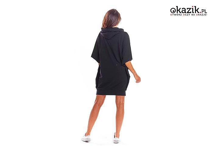 Sukienka z kapturem! Wykonana z przyjemnej wysokiej jakości tkaniny! Najwyższa jakość wykonania! Modny fason!