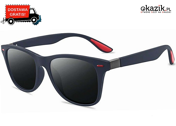 Stylowe okulary przeciwsłoneczne – klasyczny model dla kobiet i mężczyzn.