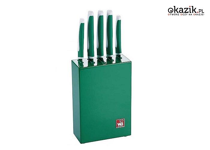 Zestaw 5 noży kuchennych w stylowym, lakierowanym bloku. 4 kolory do wyboru.