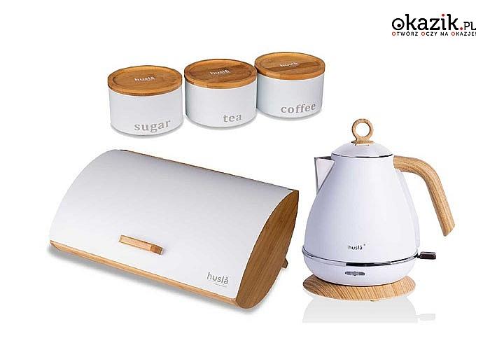 Piękny klasyczny design oraz kolor! Czajnik elektryczny Hysla 1.7L! Chlebak w zestawie! Doskonała jakość!