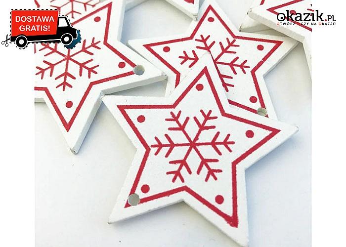 Świąteczny Hit! Zestaw drewnianych, ozdobnych zawieszek na choinkę.