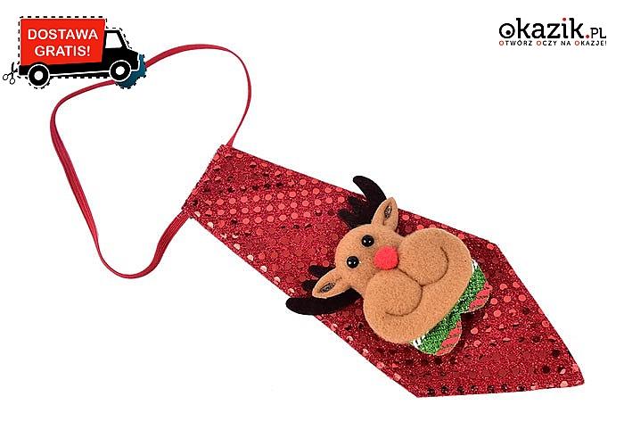 Świąteczny, modowy hit! Mini krawat z cekinami oraz świąteczną aplikacją!