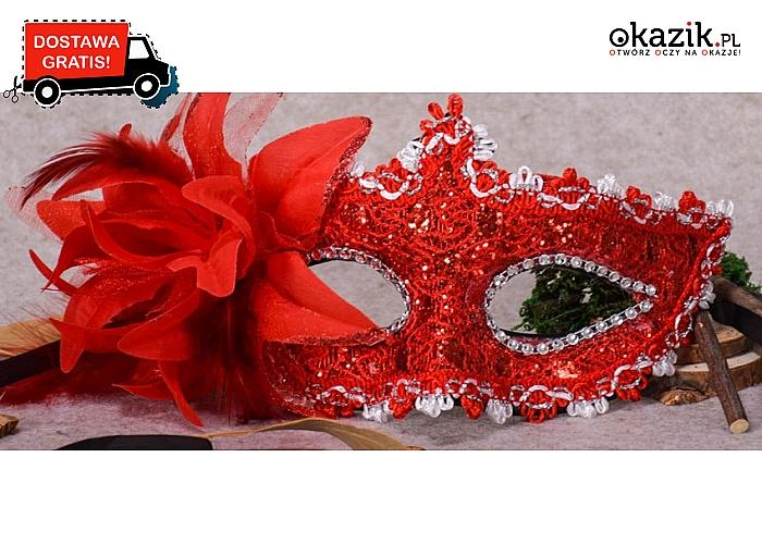 Damska MASKA W STYLU WENECKIM na Halloween, bal czy przyjęcie! Aż 8 kolorów do wyboru. Przesyłka GRATIS.