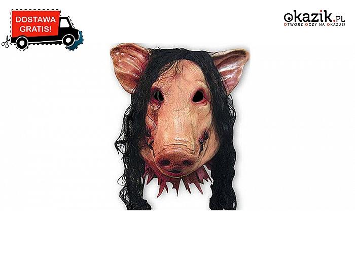 Realistyczna i przerażająca świńska maska! Doskonała na Halloween! Wysyłka GRATIS! (50zł)