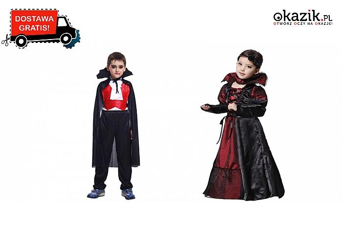 Dziecięce KOSTIUMY NA HALLOWEEN stylizowane na wampiry: dla chłopca i dziewczynki! Przesyłka GRATIS