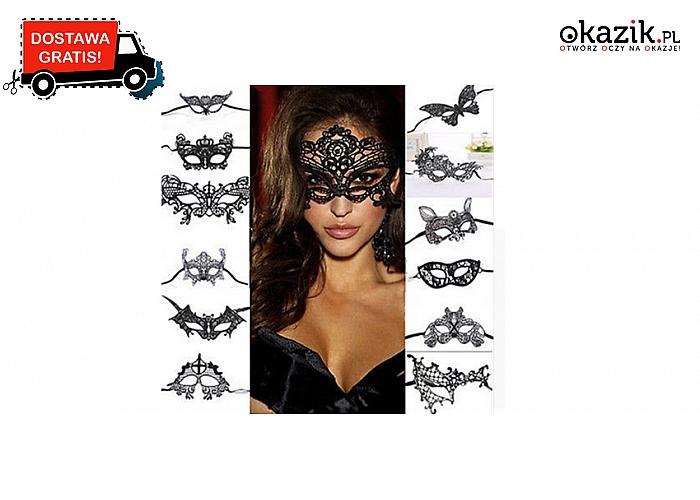 Maski na twarz z czarnej koronki. Ażurowe, fantazyjne i stylowe: na Halloween lub maskarady! Wysyłka GRATIS! (14,90 zł)