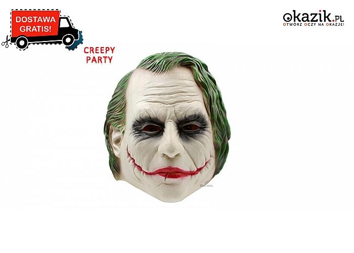 Wciel się w oskarową ROLĘ JOCKERA za sprawą realistycznej maski z lateksu! Doskonała na Halloween! DARMOWA przesyłka.
