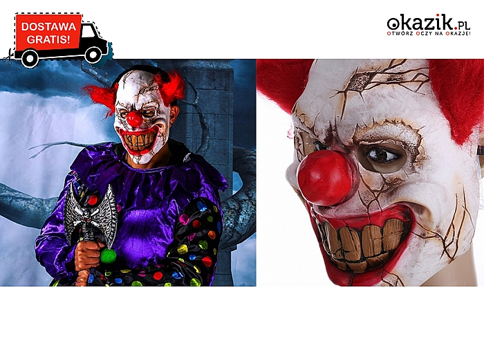 Stań się klaunem niczym z horrorów! Efektowna maska idealna na Halloween. Wysyłka GRATIS! (68zł)