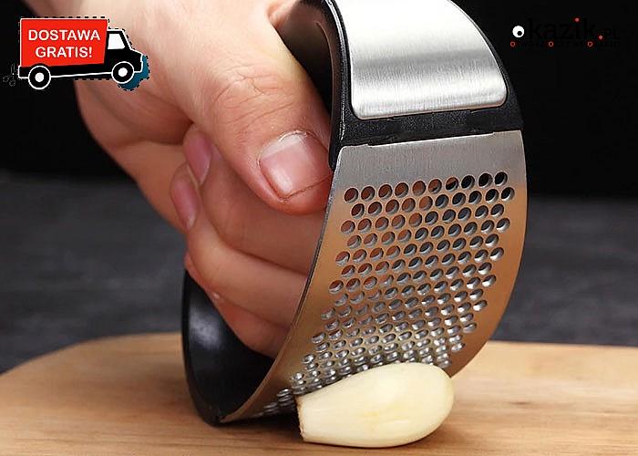 Praktyczna i oryginalna praska do czosnku ze stali nierdzewnej!
