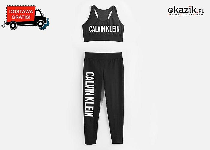 Sportowy komplet dla fanów marki Calvin Klein! Legginsy + top! Komfort i wygoda!