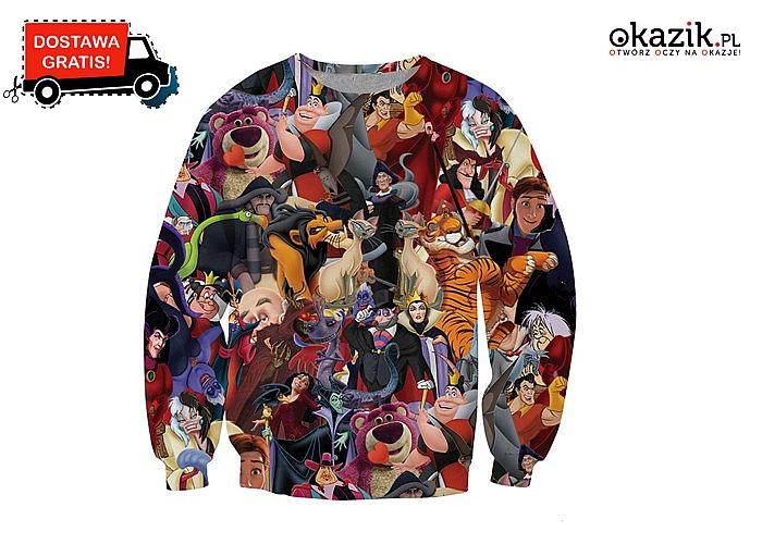 REWELACYJNA bluza z bohaterami z bajek Disney'a! Duży wybór rozmiarów!
