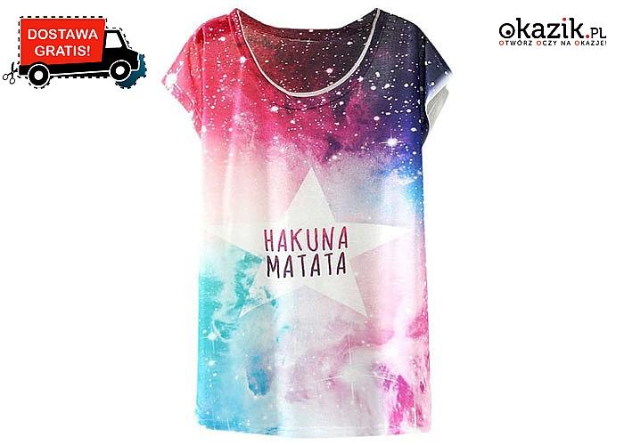 Damski t-shirt z kolorowym nadrukiem-wiele wzorów do wyboru!