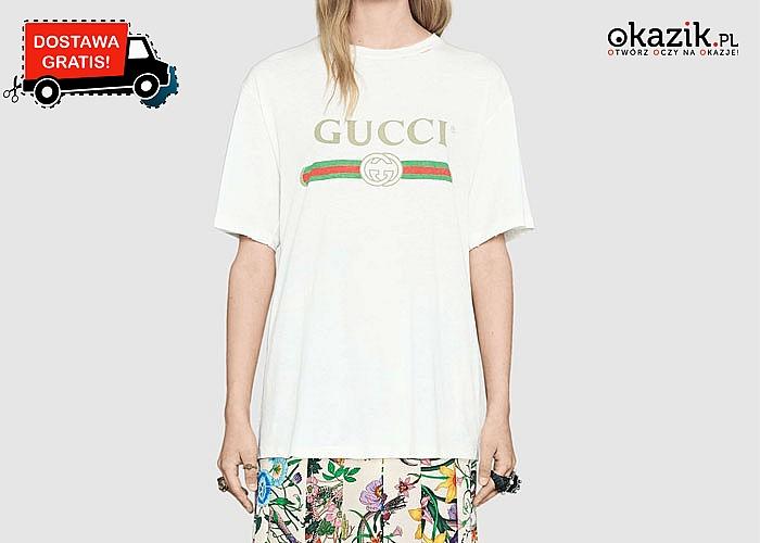 Luksusowo i sportowo! Bawełniana koszulka damska z logo Gucci!