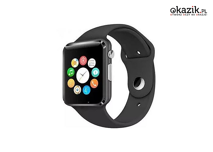 Smartwatch A1 ,zegarek kompatybilny  z systemami iOS oraz Androidem. Posiada wbudowany bluetooth oraz kamerę