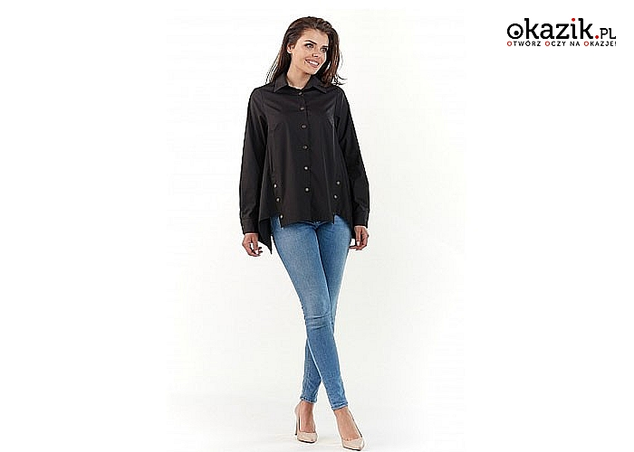Damska Koszula jej uniwersalny krój sprawia że atrakcyjnie wygląda zarówno z jeansami jak i spodniami wyjściowymi